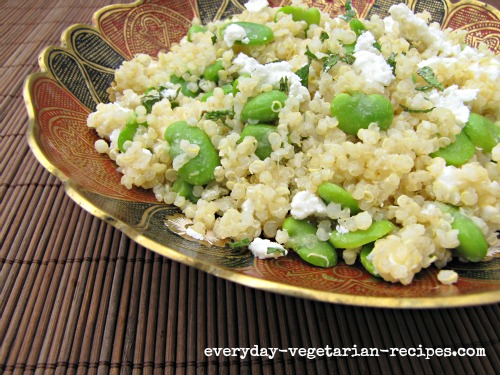 summery salad of fava beans (also known as broad beans) with quinoa ...