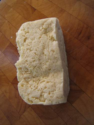 block of frozen tofu
